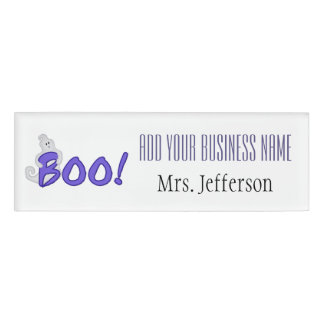 Boo Ghost Halloween Name Tag