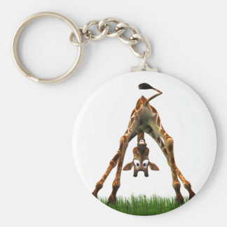 Boo! Says Olympia Giraffe. Basic Round Button Key Ring