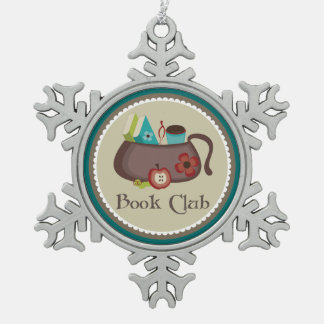 Book Club Stylish Reading Gift Snowflake Pewter Christmas Ornament
