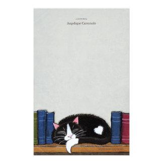 Book Love   Cat on a Book Shelf Note Paper