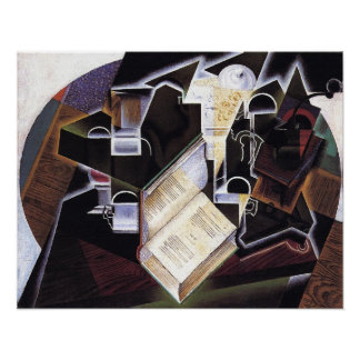 Book Pipe and Glasses, by Juan Gris Poster