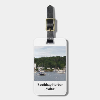 Boothbay Harbor Boats Luggage Tag w/ leather strap