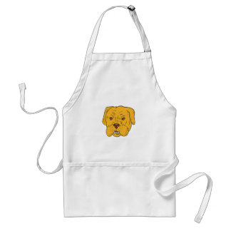 Bordeaux Dog Head Cartoon Standard Apron