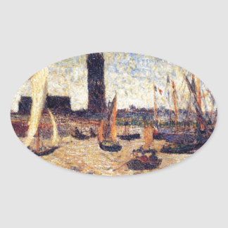Bordeaux Harbour by Paul Gauguin Oval Sticker