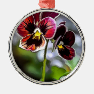 Bordeaux Pansy Flower Duo Silver-Colored Round Decoration