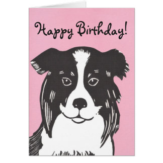 Border Collie Pink Happy Birthday Card