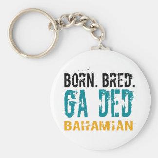 Born Bred Ga Ded Bahamian Button Keychain