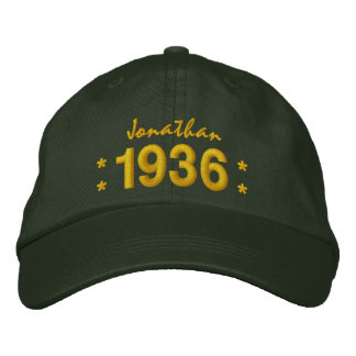 Born in 1936 or Any Year 80th Birthday V07A GREEN Embroidered Cap