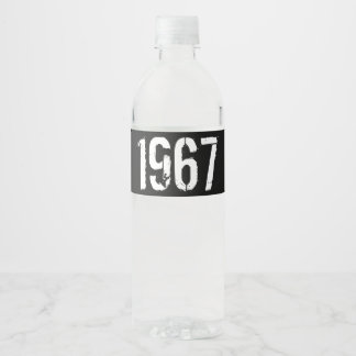 Born in 1967 Birthday Year Water Bottle Label
