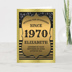Born In 1970 Black And Gold Vintage 50th Birthday Card