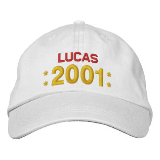 Born in 2001 or Any Year Birthday W02H WHITE Embroidered Hats