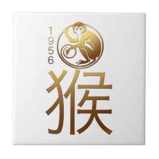 Born in Monkey Year 1956 - Chinese Astrology Small Square Tile