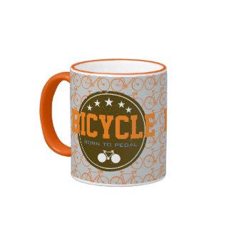 born to pedal bike-themed ringer mug