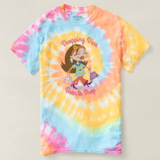 Born to Shop Funky Shopping Diva Pastel Tie Dye T Shirt