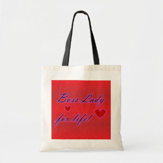 Boss Lady For Life Hearts Budget Tote Bags