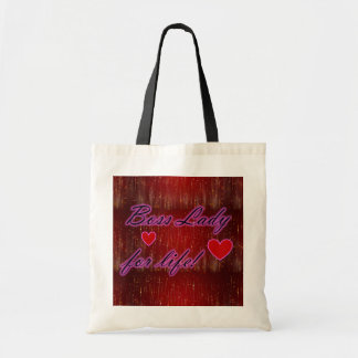 Boss Lady For Life Hearts Budget Tote Bag