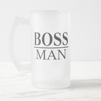 BOSS MAN FROSTED GLASS BEER MUG