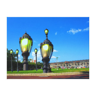 Boston city Gardens Lamp posts Wrapped Canvas