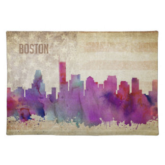Boston, MA   Watercolor City Skyline Placemat