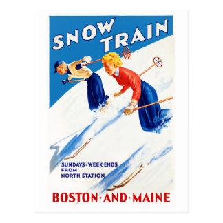 Boston Maine Vintage Travel Poster Restored Postcard