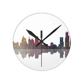 Boston Massachusetts Skyline Round Clock