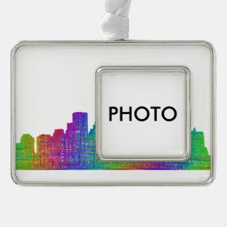 Boston skyline silver plated framed ornament