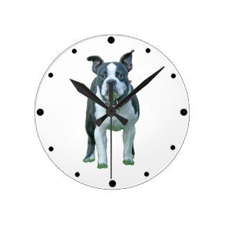 Boston terrier  1b round clock