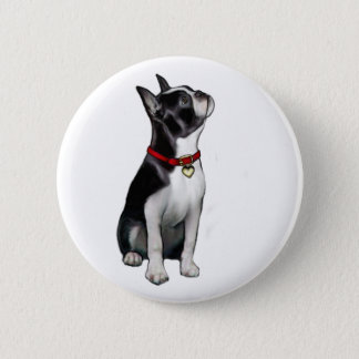 Boston Terrier (A) - looking up 6 Cm Round Badge