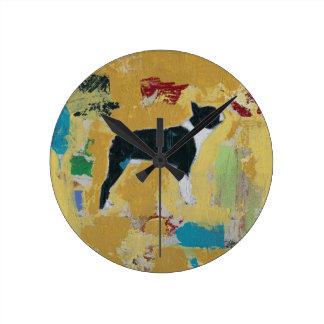 Boston Terrier Abstract Art Round Clock