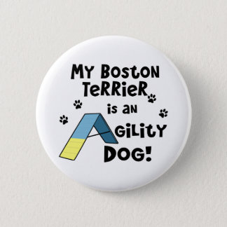 Boston Terrier Agility Dog Button
