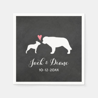 Boston Terrier and Saint  Bernard Wedding Paper Napkin