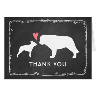 Boston Terrier and Saint Bernard Wedding Thank You Card
