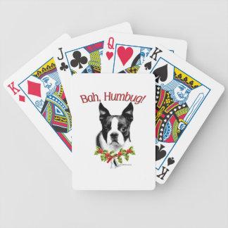 Boston Terrier Bah Humbug Bicycle Playing Cards