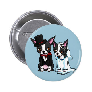 Boston Terrier Bride and Groom 6 Cm Round Badge