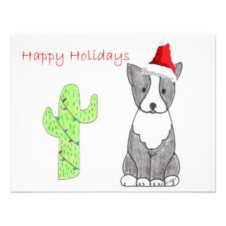 Boston Terrier Cactus Christmas Announcements