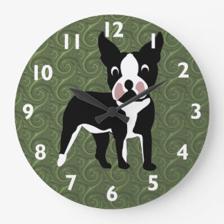 Boston Terrier Cartoon Large Clock