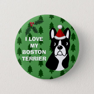 Boston Terrier Christmas Cartoon 6 Cm Round Badge