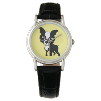 Boston Terrier Custom Silver Wrap-Around Watch