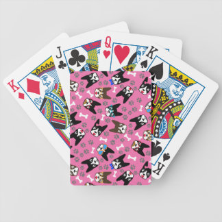 Boston Terrier Cute Mustache Funny Faces Bicycle Playing Cards
