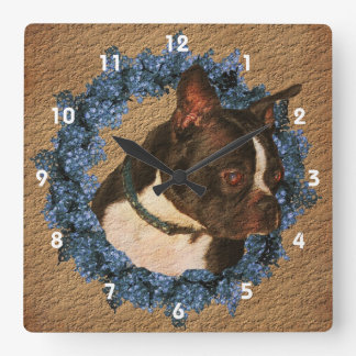 Boston Terrier Dog And Flower Wreath Animal Square Wall Clock