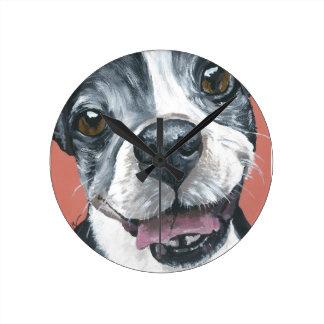 Boston Terrier Dog art Round Clock