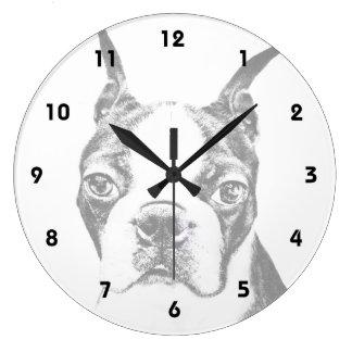 Boston Terrier dog Large Clock
