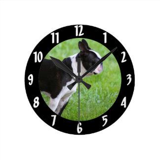 Boston Terrier dog Round Clock