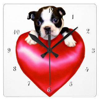 Boston Terrier dog square clock