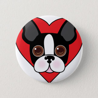 Boston Terrier Face 6 Cm Round Badge