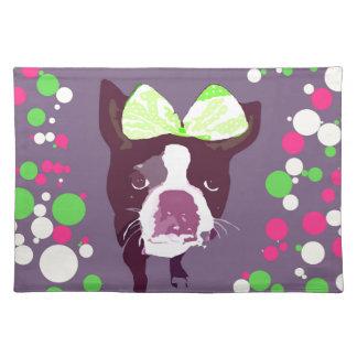 Boston Terrier Girl Bow Pop Art Placemat