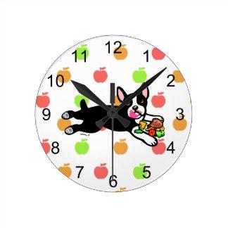 Boston Terrier Hamburger Kitchen Clock