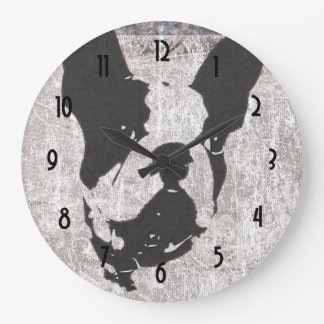 Boston Terrier in Black and White Large Clock
