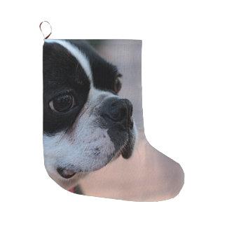 Boston terrier large christmas stocking