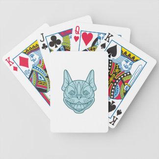 Boston Terrier Laughing Circle Mono Line Bicycle Playing Cards